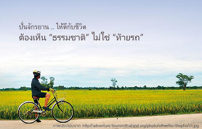 ปั่นจักรยานให้ดีกับชีวิต ต้องเห็นธรรมชาติ ไม่ใช่ .. ท้ายรถ